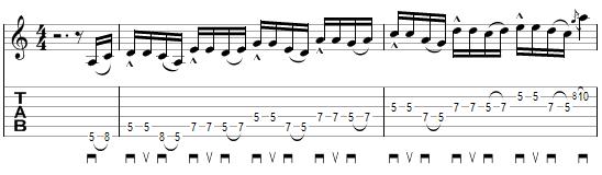tablature du deuxième exercice à la manière de John Petrucci