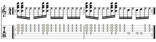 tablature de l'exercice 2 pour les cocottes funk
