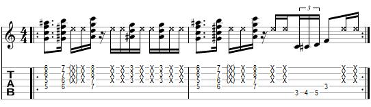 tablature de l'exercice 3 pour les cocottes funk