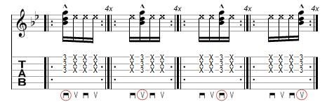 tablature exercice de base pour les cocottes funk