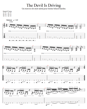 tablature de l'exercice de style The Devil Is Driving