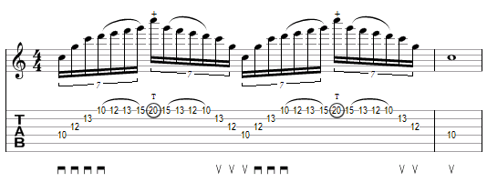 Plan de Christophe Godin mélant tapping, sweeping et legato