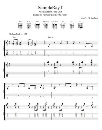 tablature du morceau sampleRayT du Nils Landgren Funk Unit