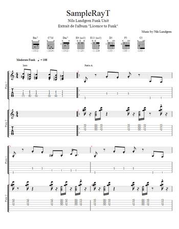 tablature du morceau sampleRayT du Nils Landgren Funk Unit