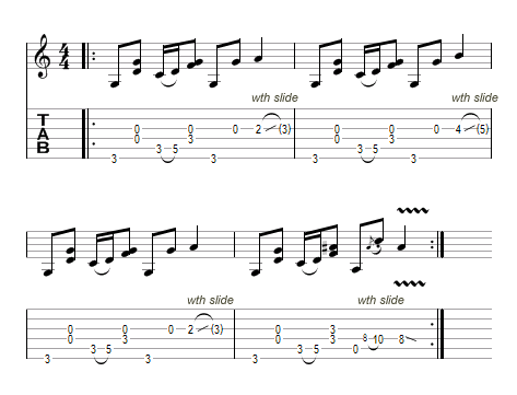 tablature de l'exercice bottleneck