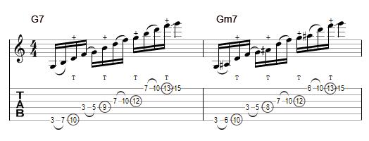Guthrie Govan lick - arpeggio G7 / Gm7