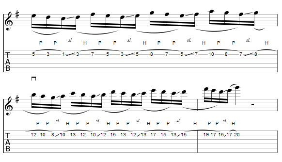le legato à la guitare : ex 2