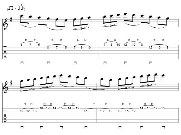 Exerice 6 pour le travail du legato à la guitare
