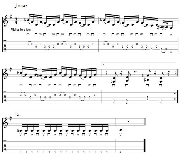 Tablature de l'intro du morceau Mr Policeman de Brad Paisley