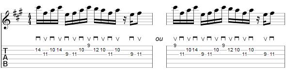 Exemples de doigtés alternatifs pour le thème A