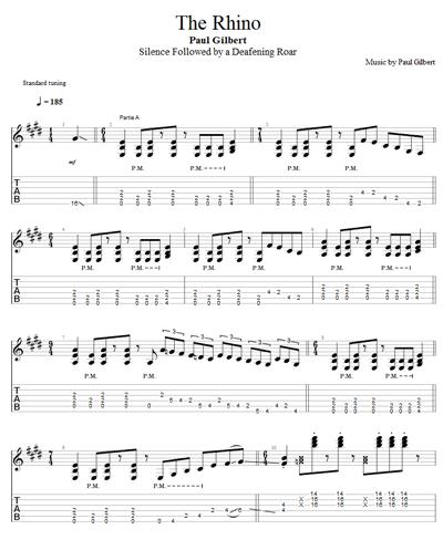 Télécharger la tablature du morceau The Rhino de Paul Gilbert