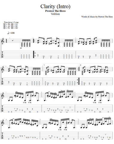 Tablature - Clarity (Protest The Hero)