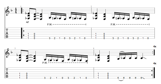 Tablature Gojira Silvera Intro